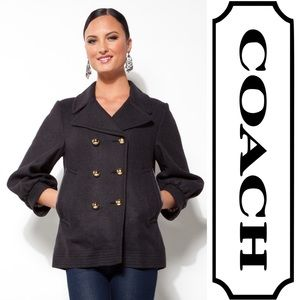 COACH Charcoal Double-Breasted Peacoat Size 2